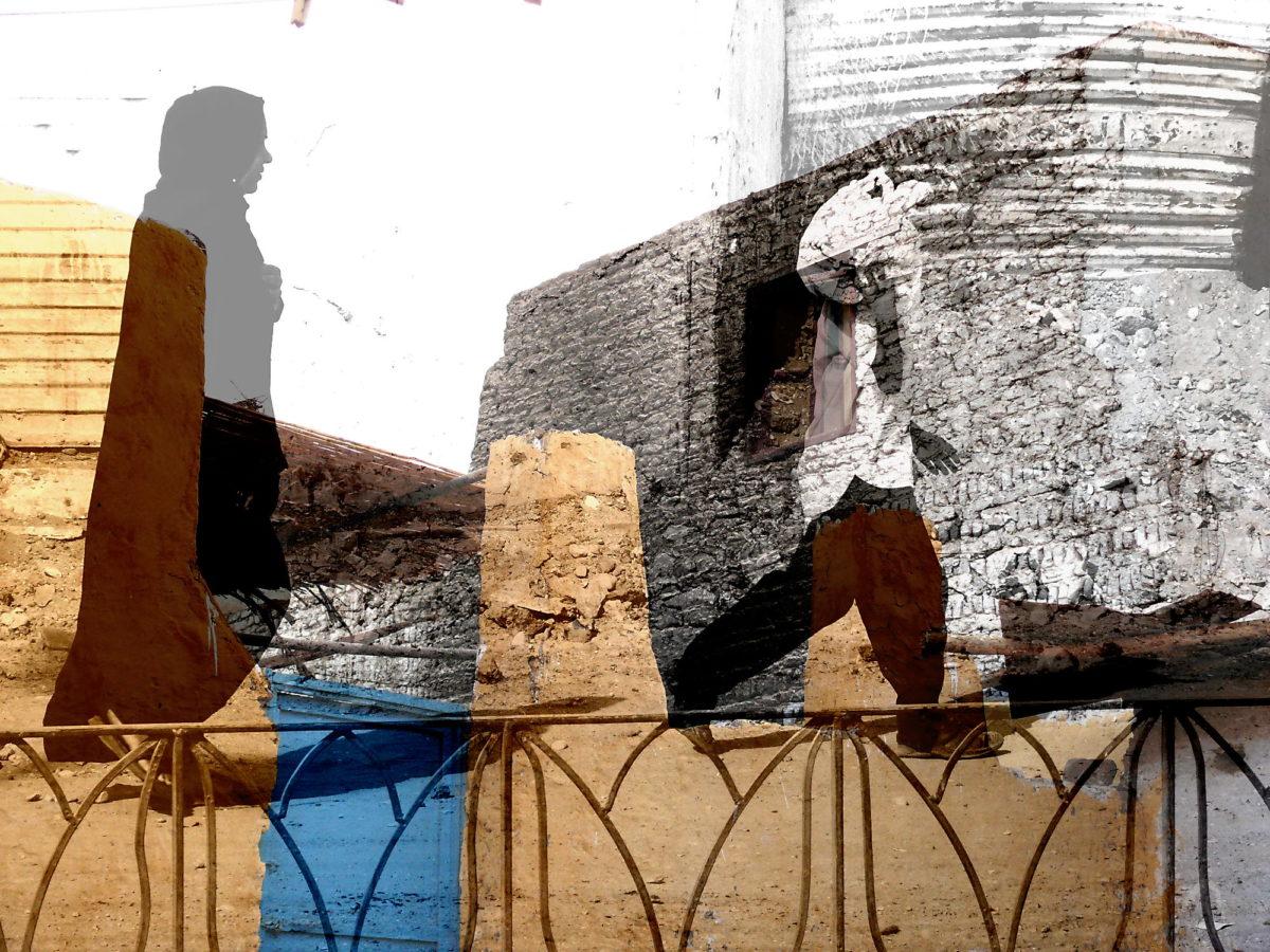 Homecoming. Fotografia d'arte di Paolo Grassi ripresa in Egitto. Doppia esposizione
