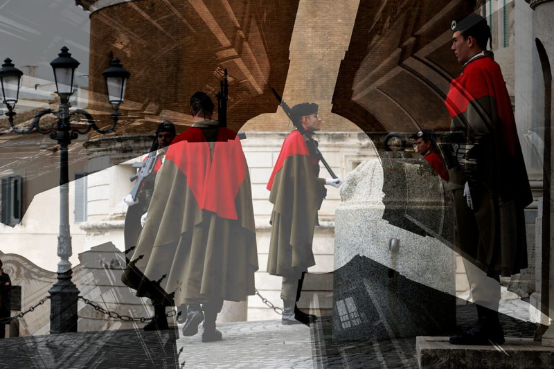 Changing of the guard. Photo art by Paolo Grassi. Roma Quirinale Palace